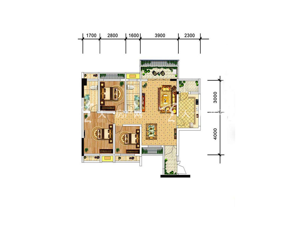 中电海湾国际社区C2户型,3室2厅2卫,建筑面积约89.15平米.jpg