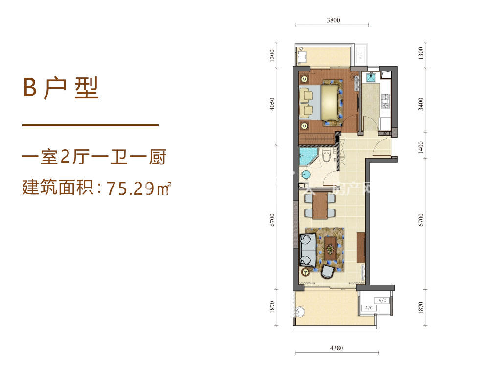 海南佰悦湾B户型1室2厅1卫1厨75.29㎡.jpg