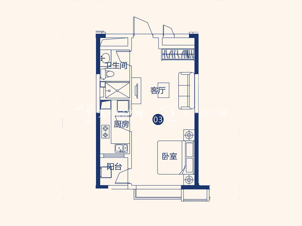 北海恒大御景半岛26#1单元03户型,1室1厅1卫,建筑面积约52.40平米.jpg