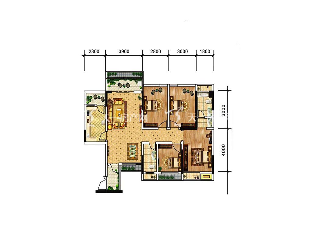 中电海湾国际社区B2户型,4室2厅2卫,建筑面积约90.98平米.jpg