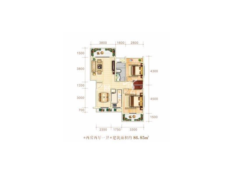 博泰海畔澜廷C户型2房2厅1卫建筑面积86.85㎡.jpg