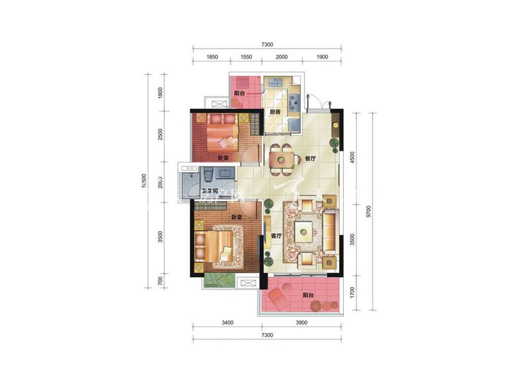 中铁诺德国际12栋C1户型居室:2室2厅1卫1厨建筑面积:83.64㎡.jpg