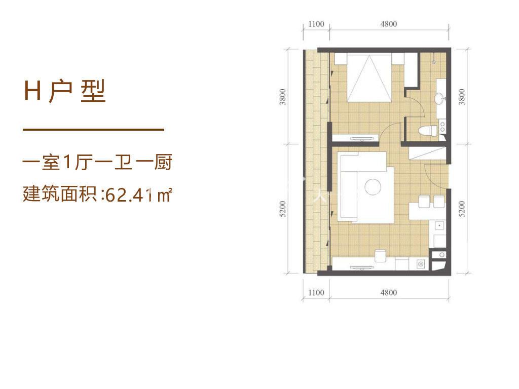 海南佰悦湾H户型1室1厅1卫1厨62.41㎡.jpg