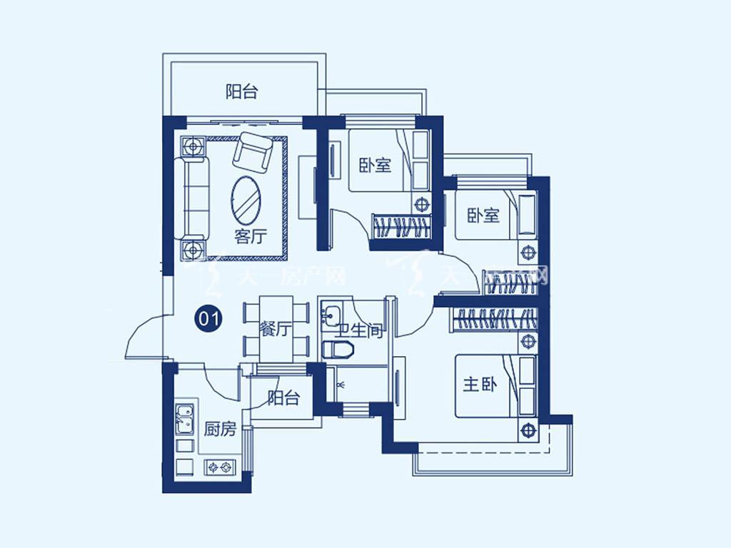 北海恒大御景半岛27#2单元01户型,3室2厅1卫,建筑面积约87.72平米.jpg
