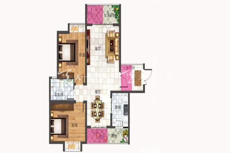 紫竹园紫竹园B5户型2室2厅1卫1厨94.00㎡.jpg