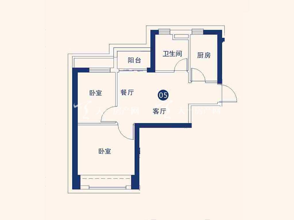 北海恒大御景半岛22#05户型,2室2厅1卫,建筑面积约59.05平米.jpg