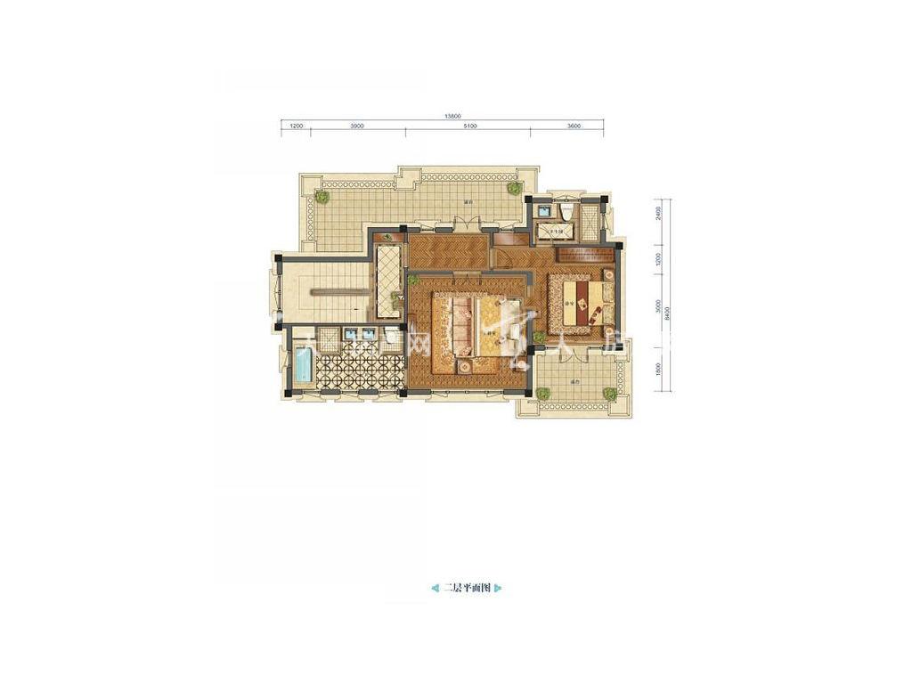 九洲绿城翠湖香山独栋B4户型二层居室:2室0厅2卫0厨建筑面积:226.00㎡.jpg