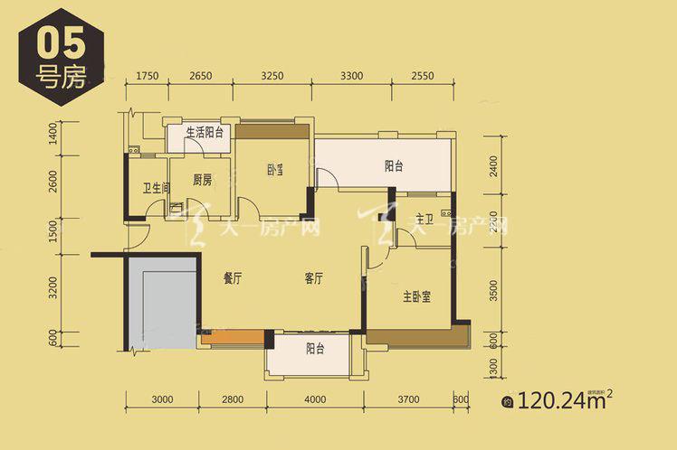 金地天润自在城1栋05户型居室:2室2厅2卫1厨建筑面积:140.00㎡.jpg