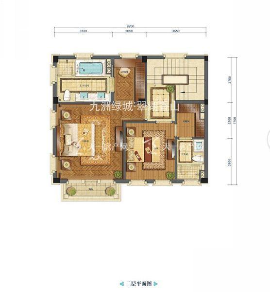 九洲绿城翠湖香山合院A1户型二层居室:2室0厅2卫0厨建筑面积:185.00㎡.jpg